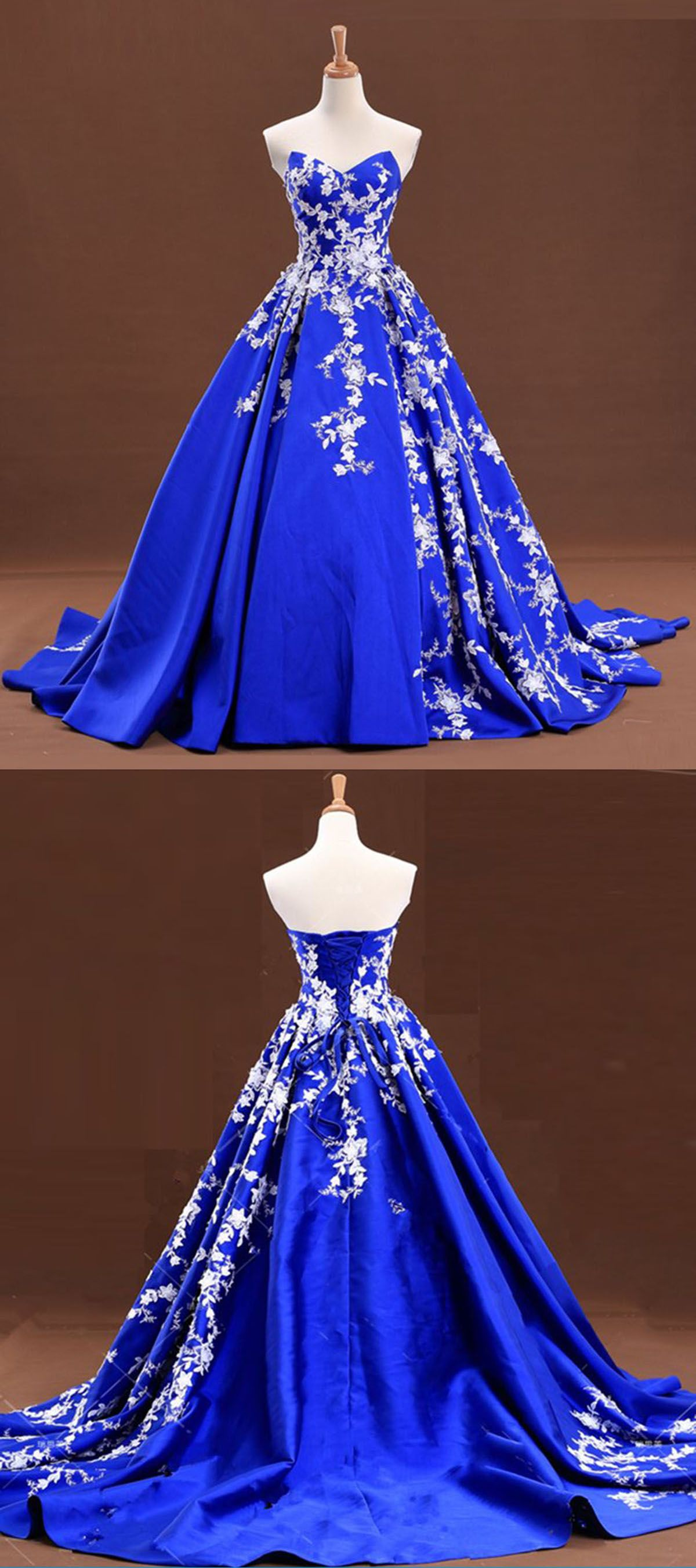 Sweetheart neck royal blue satin long senior prom dress with lace