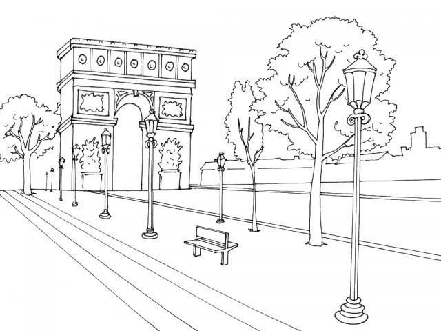 Colouring Arc De Triomphe France Art Coloring Pages Paris