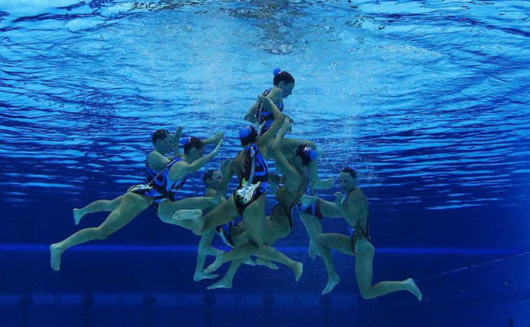 olympics synchronised swimming australias team are seen underwater
