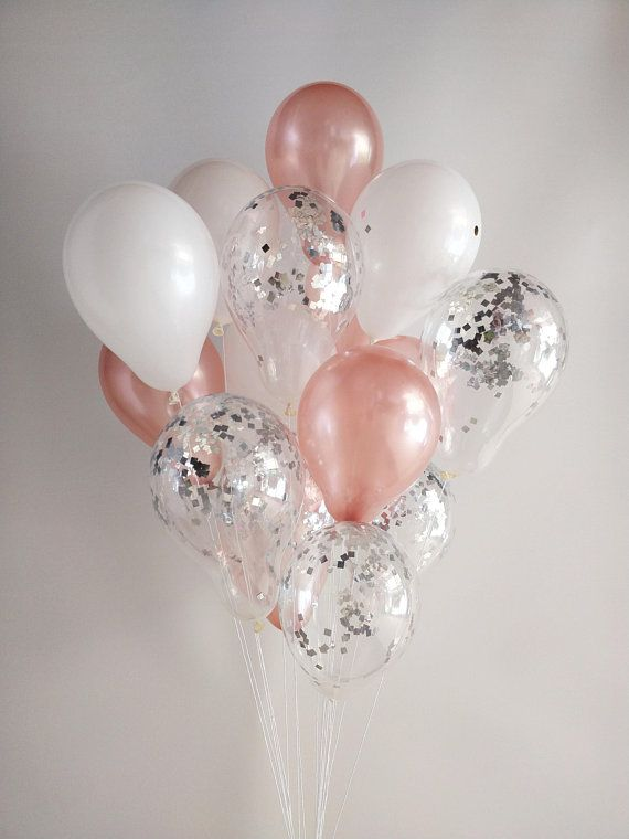 """12/"""" 15/"""" 18/"""" Clear Transparent Balloons filled with Rose gold Silver Confetti"""