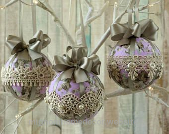 cool shabby chic christmas ornaments bauble set fabric tree decorations lace decor - Handmade Shabby Chic Christmas Decorations