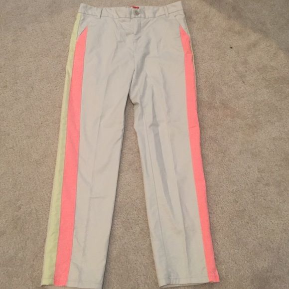 Anthropologie tuxedo stripe Charlie trouser Awesome pants by Cartonnier. Khaki with yellow and pink stripes like a tuxedo pant. Very soft. Anthropologie Pants Trousers