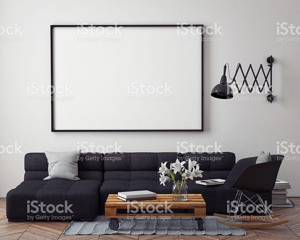 Mock up poster with modern loft interior background d render