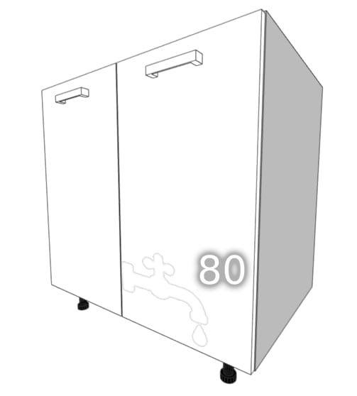 GLOSS Standing two-door cupboard, sink 80cm (Front color: …