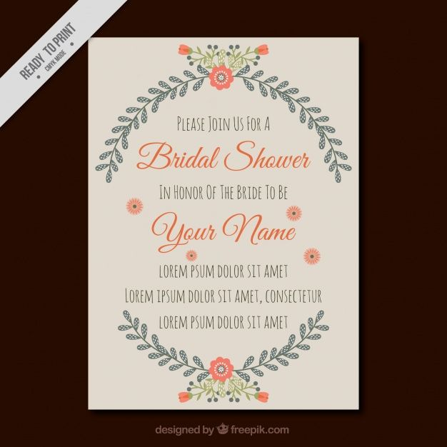 Invitation template for bridal shower with pretty flowers Free - invitation template bridal shower