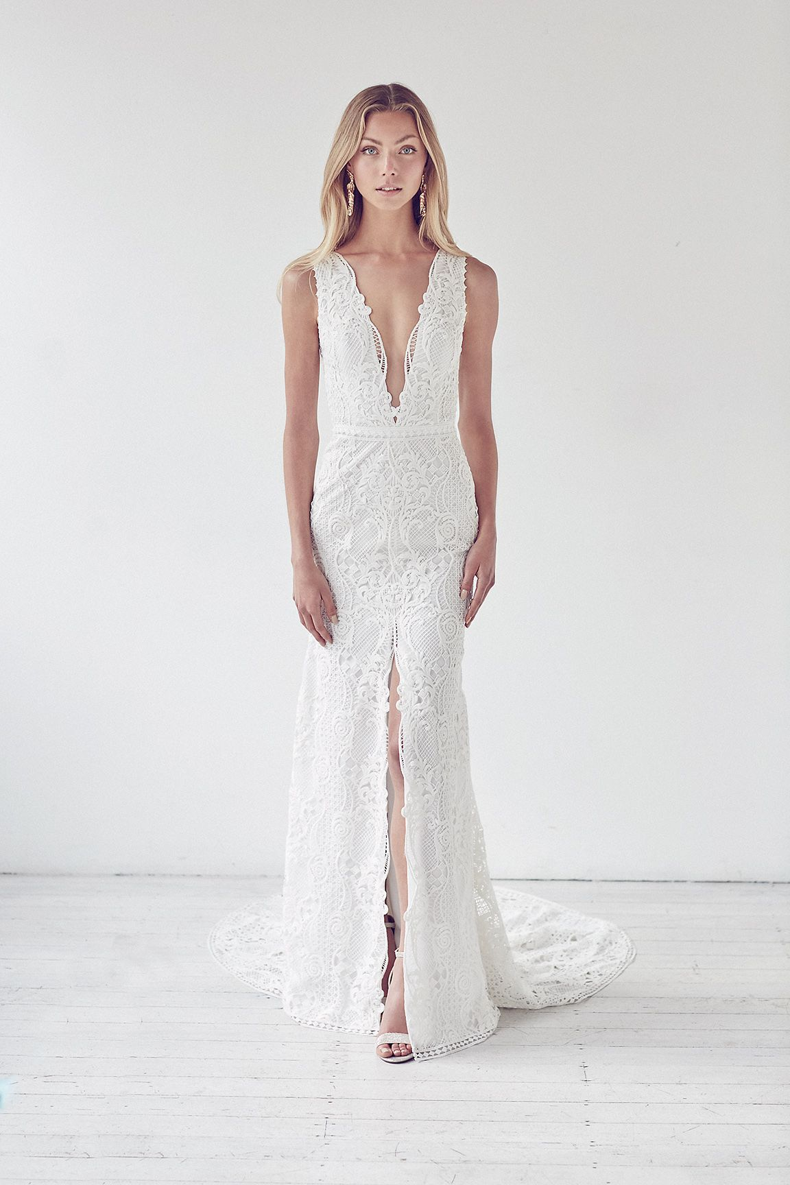 0c78658962 Deep V-neck Lace Fit And Flare Center Slit Wedding Dress by Suzanne Harward  - Image 1