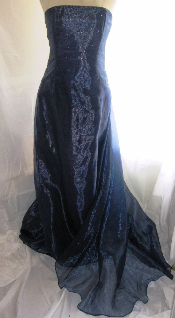 CLOSE OUT SALE   Vintage Navy Srapless Beaded Evening Gown with Beautiful Train by Scott McClintock
