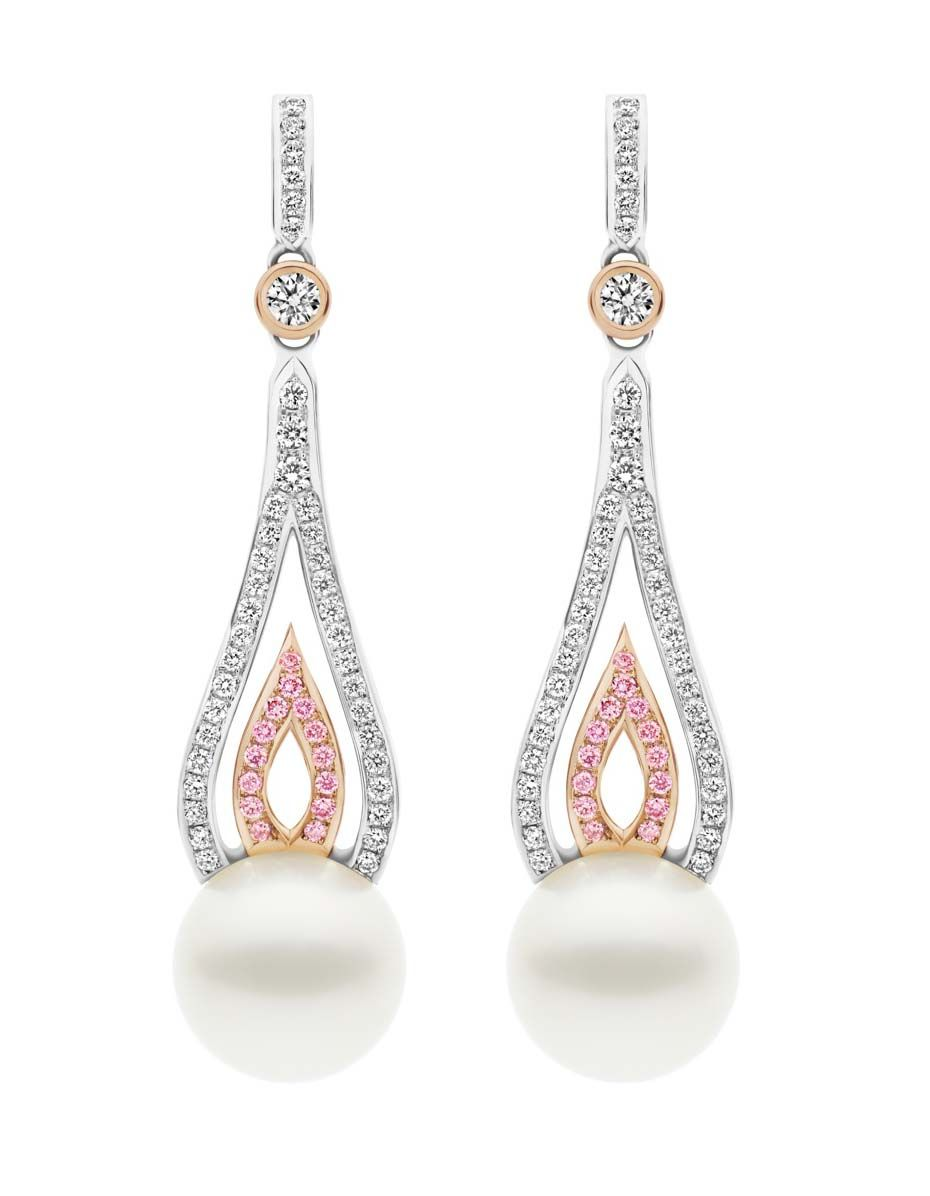 Kailis Flame Pearl Earrings In White And Rosegold Set With Pink Pavé Diamonds Two 12 13mm Round Australian Southseapearls