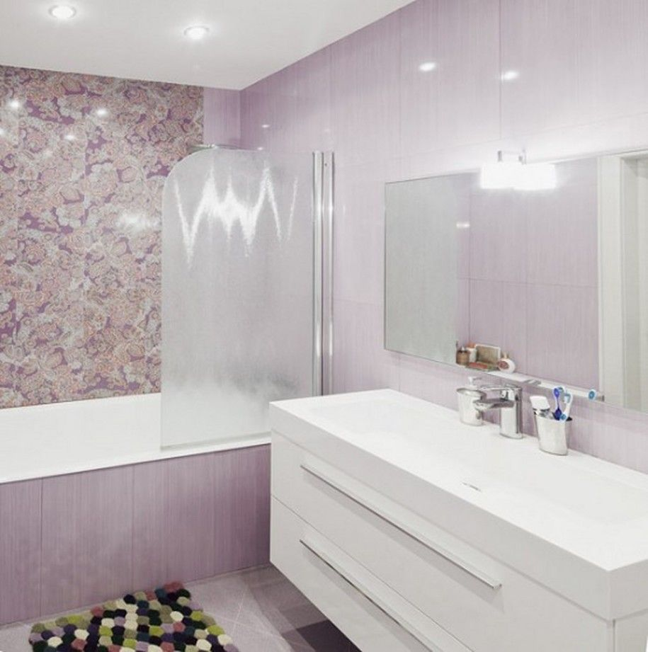 Outstanding Pretty Deluxe Purple Bathroom With Tub And Shower Frozen ...