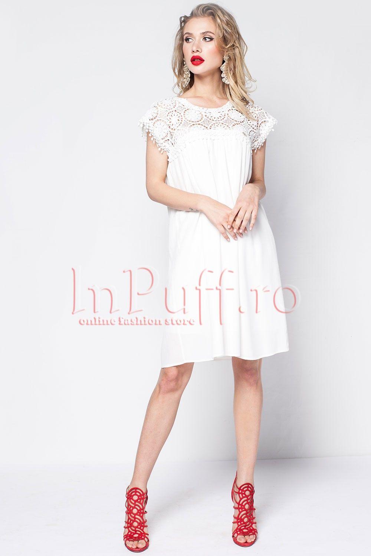 Rochie Lejera Alba Cu Broderie Rochii Casual Flower Girl Dresses