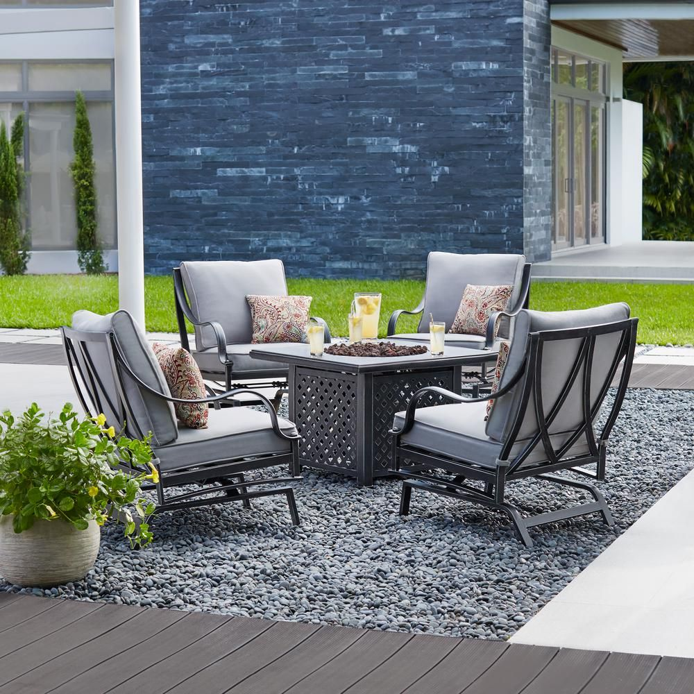 Hampton Bay Highland Point 5 Piece Aluminum And Steel Patio Fire Pit  Conversation Set With