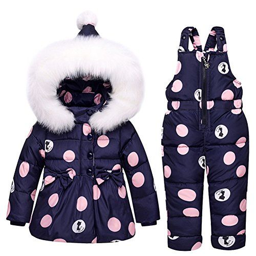 33f75d64dd7b Baby Girls Snowsuit Toddler Puffer Hooded Jacket + Bib Pants 2 ...