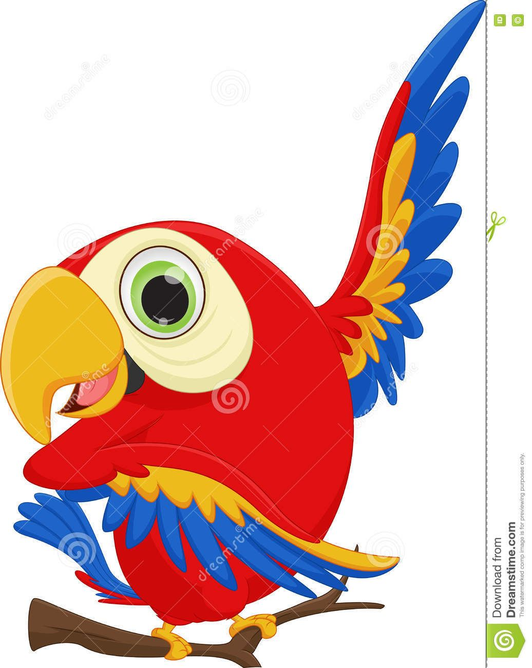 Cute Macaw Bird Cartoon Waving Stock Vector Image 73343675 Macaw Cartoon Vector Illustration