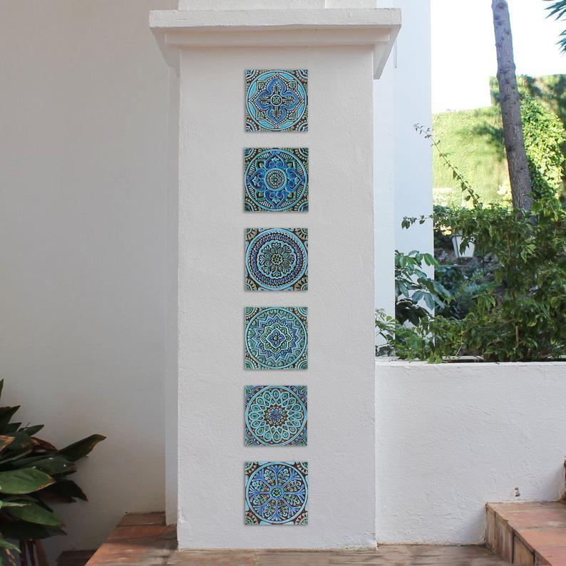 Garden decor ceramic tile moroccan outdoor wall art and