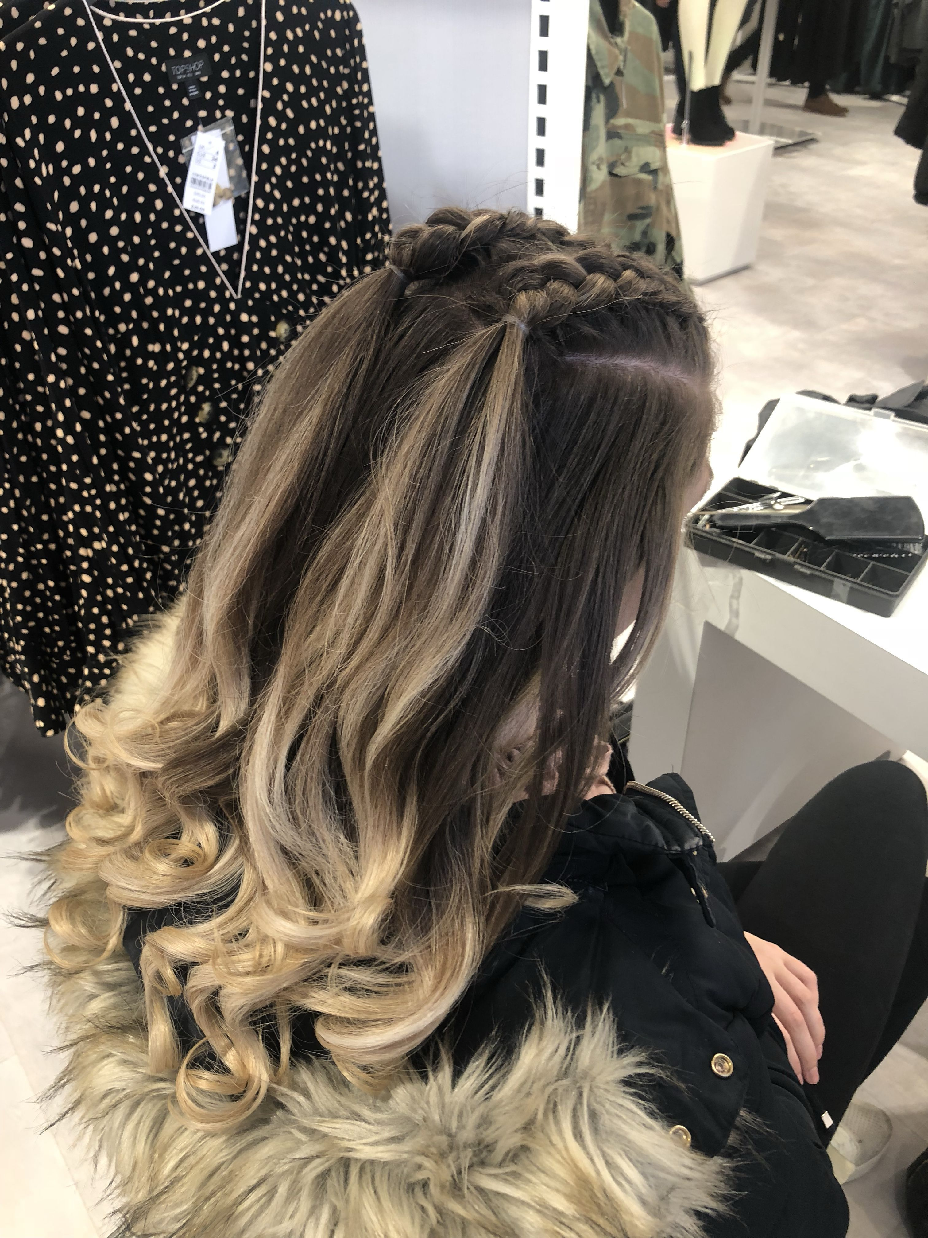 Blond hair, two small braids. Lose curls # small Braids with curls Half up, half down