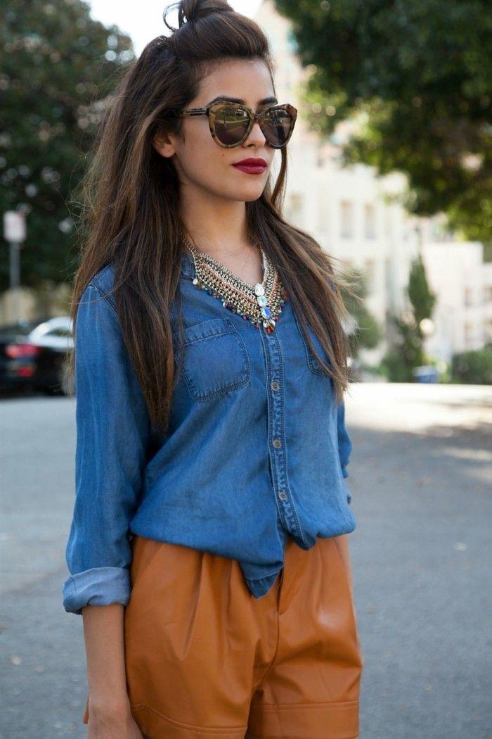 79bf398cf1c5f avec quoi porter une chemise en jean, confidence et élégance féminines