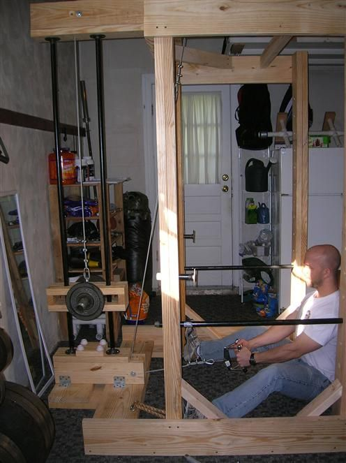Homemade power rack and lat tower home gym pinterest