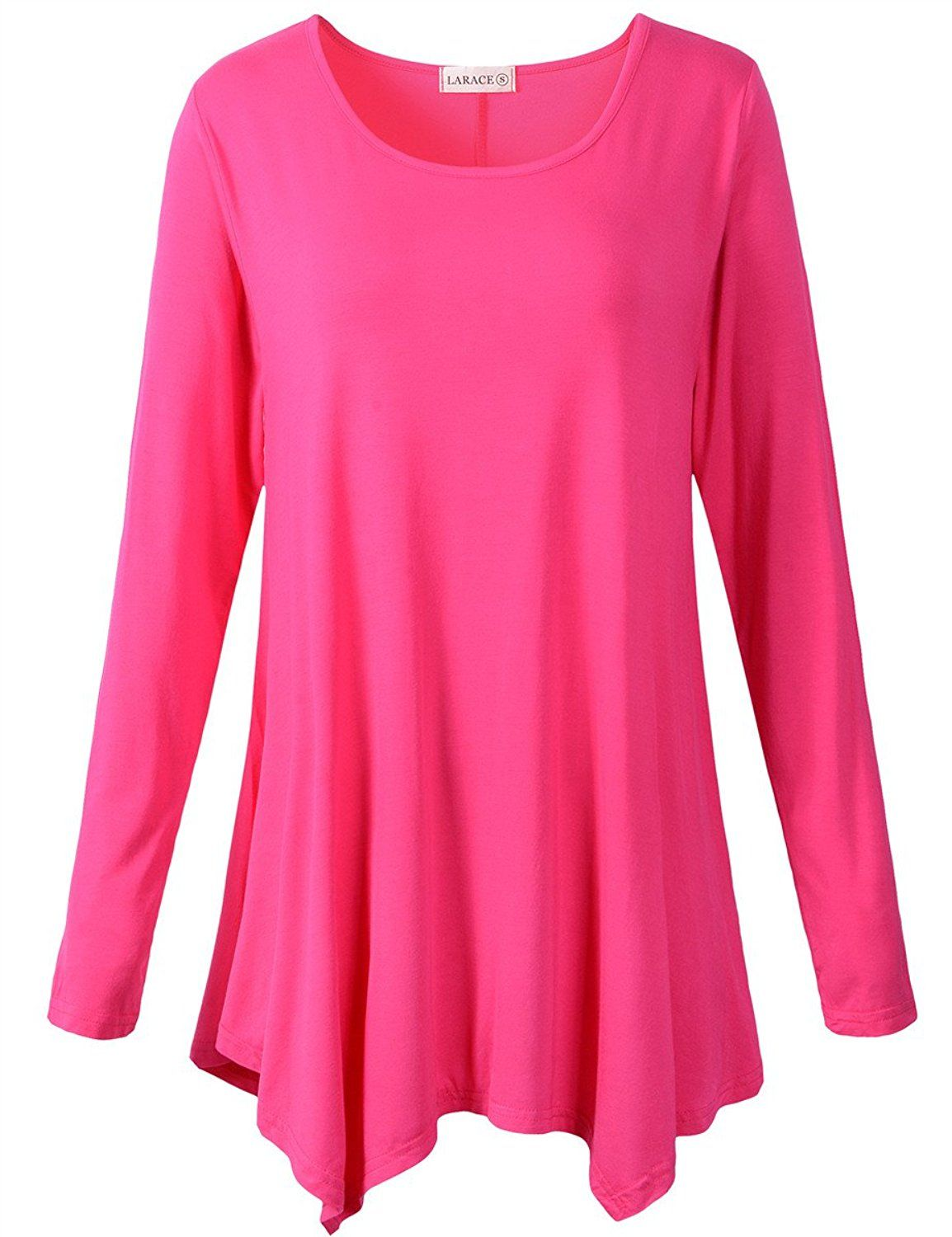 LARACE Womens Long Sleeve Flattering Comfy Tunic Loose Fit Flowy Top at Amazon Women's Clothing store:
