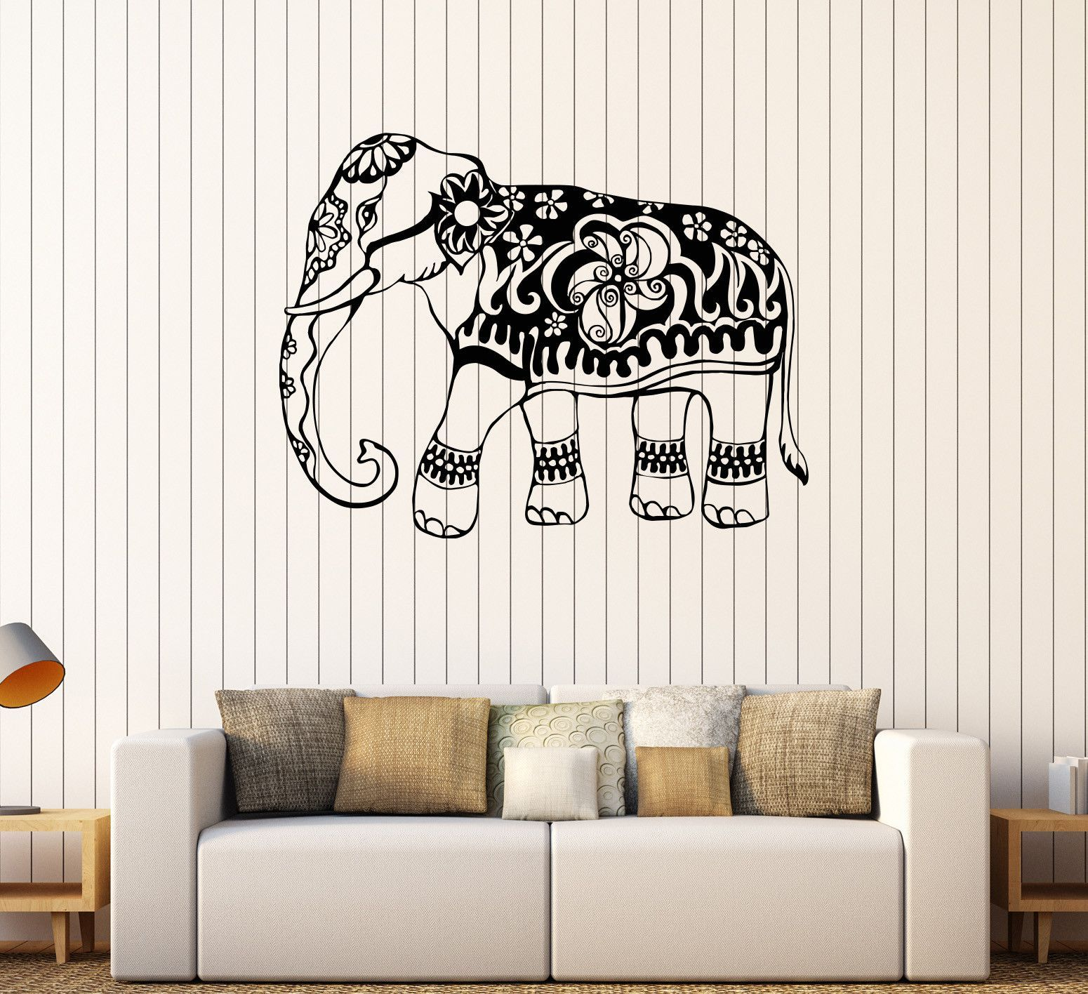 Vinyl Wall Decal India Elephant Animal Ornament Stickers Mural