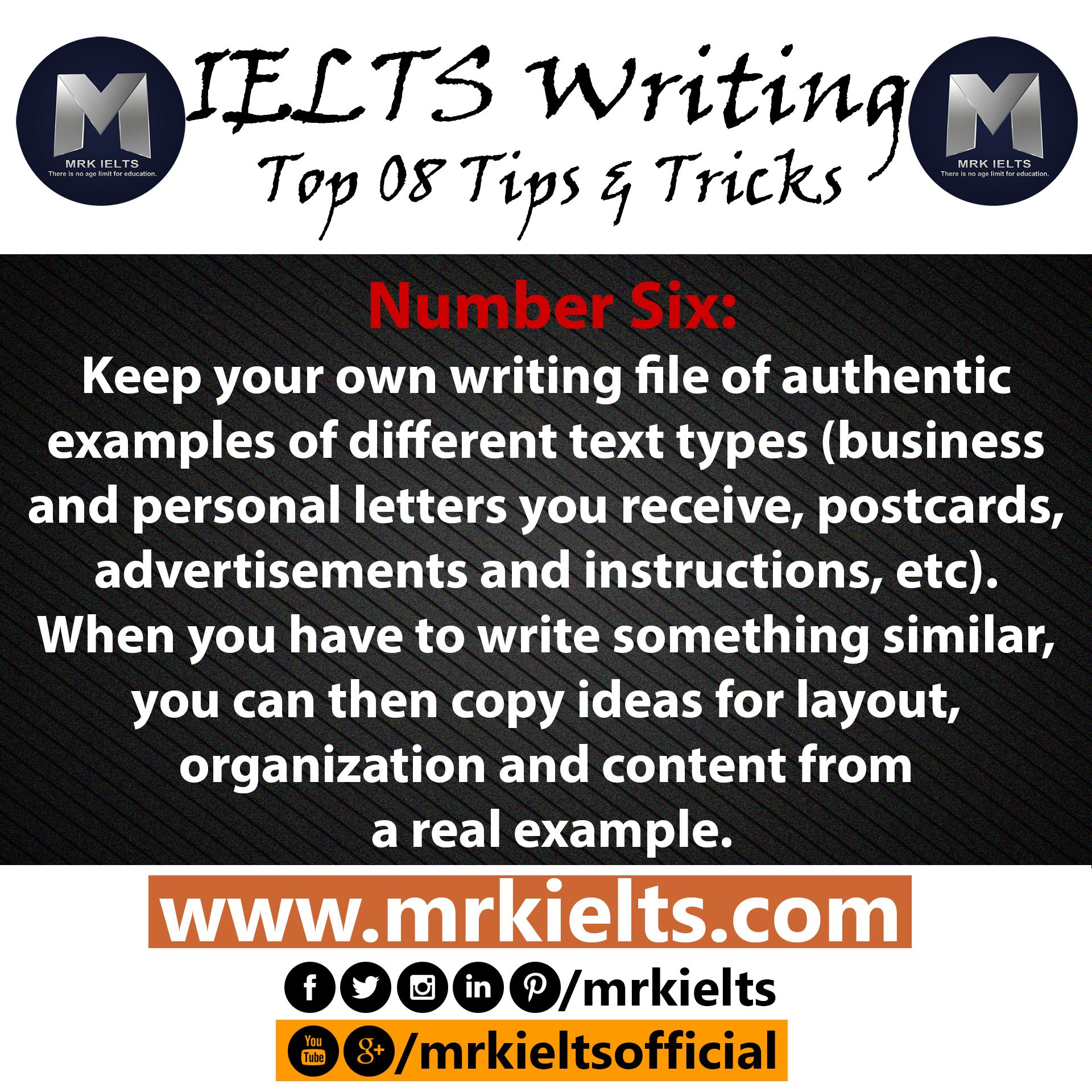 Keep your own writing file of authentic examples of different text