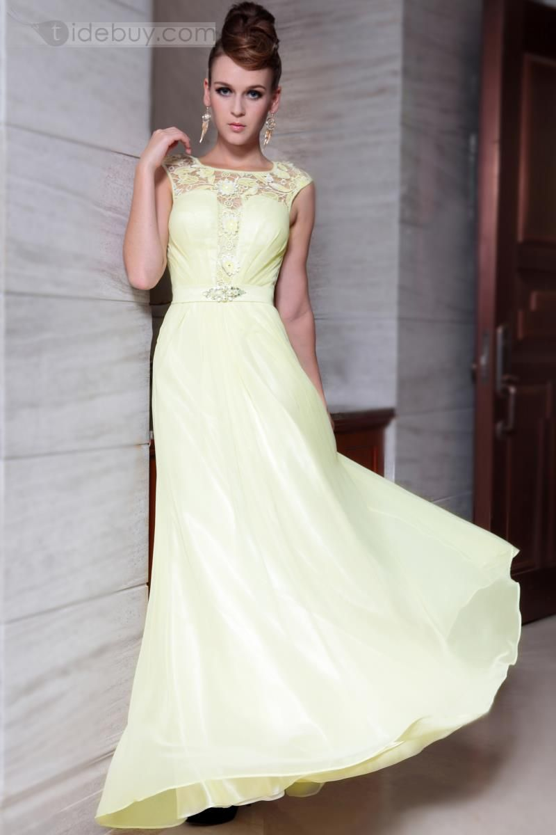Pretty scoop neck floorlength beadingulace promevening dress