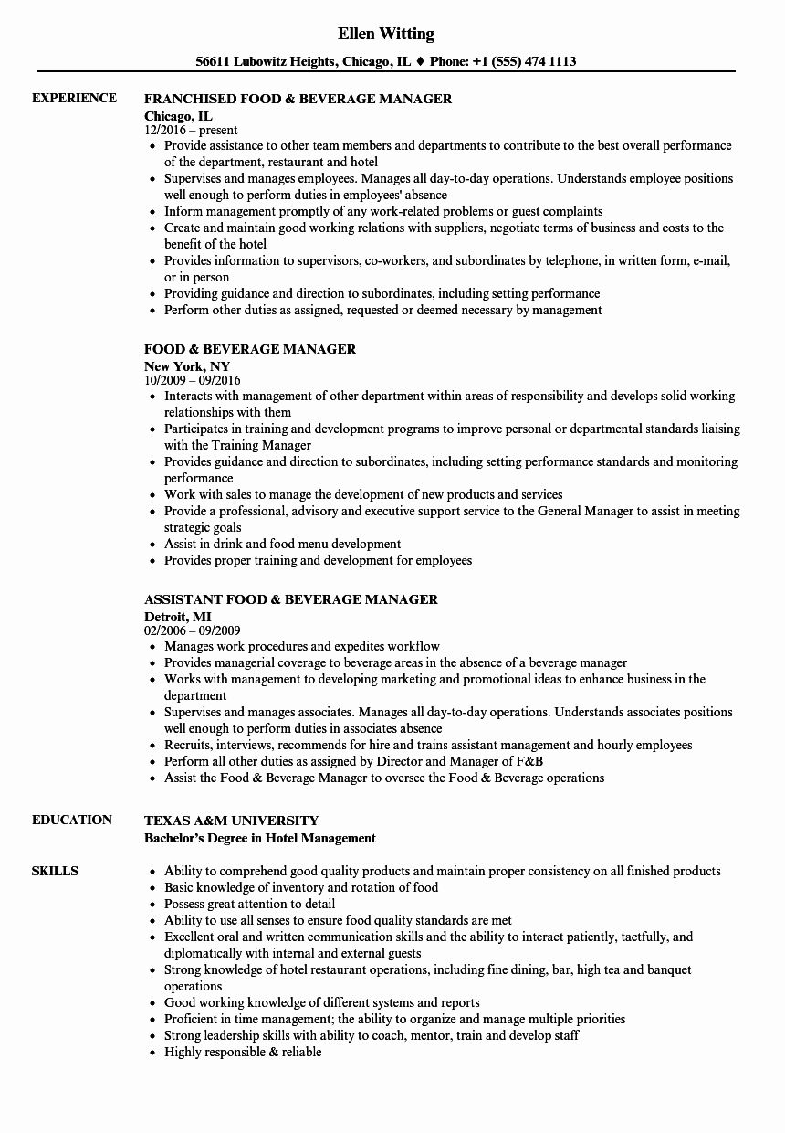 20 Food and Beverage Director Resume in 2020 Manager