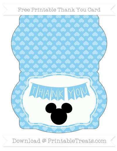 Baby Blue Heart Pattern Mickey Mouse Thank You Card Baby Mickey