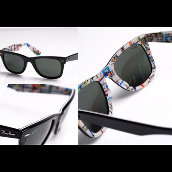 debf51d712962 Ray Ban Wayfarer Sunglasses Limited edition New York Subway map printed  wayfarers. These are so cute and unique!! Black on the outside