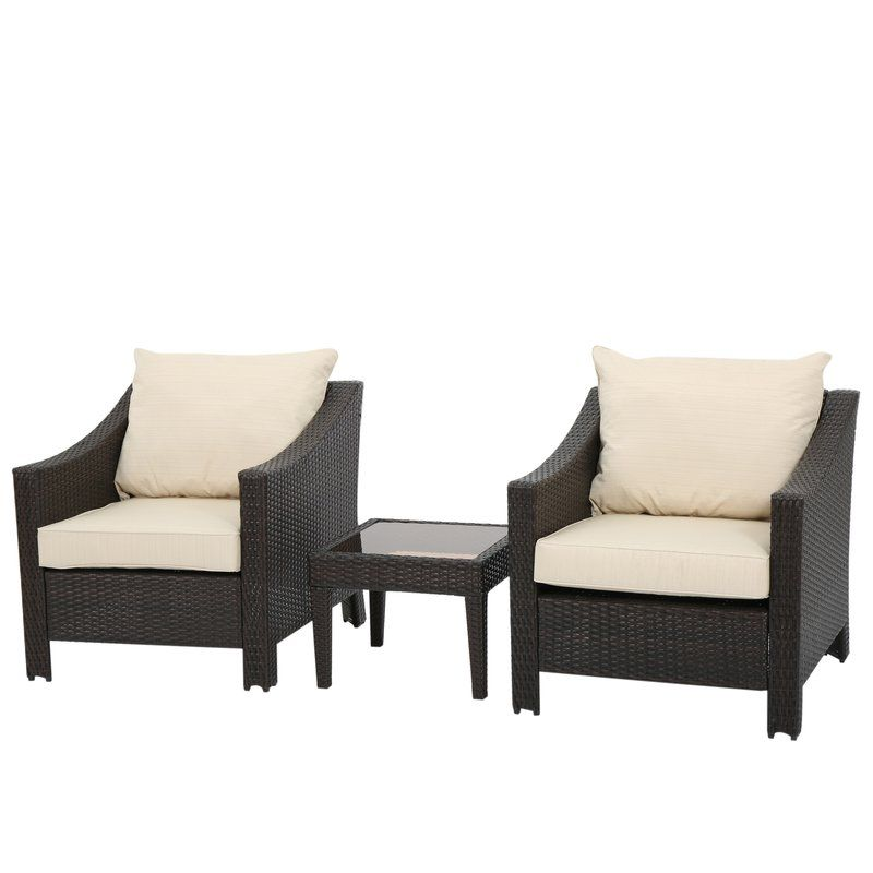 Remarkable Portola 3 Piece Rattan Conversation Set With Cushion In 2019 Ncnpc Chair Design For Home Ncnpcorg