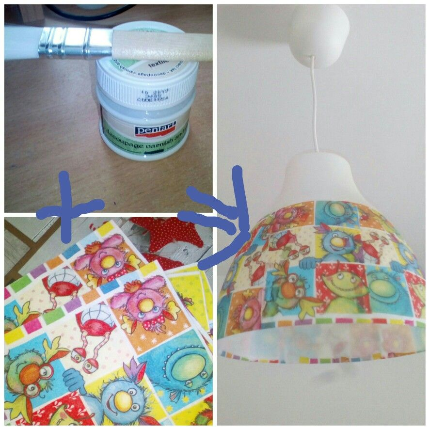 Bought this simple lampshade in Ikea. I decorated it with