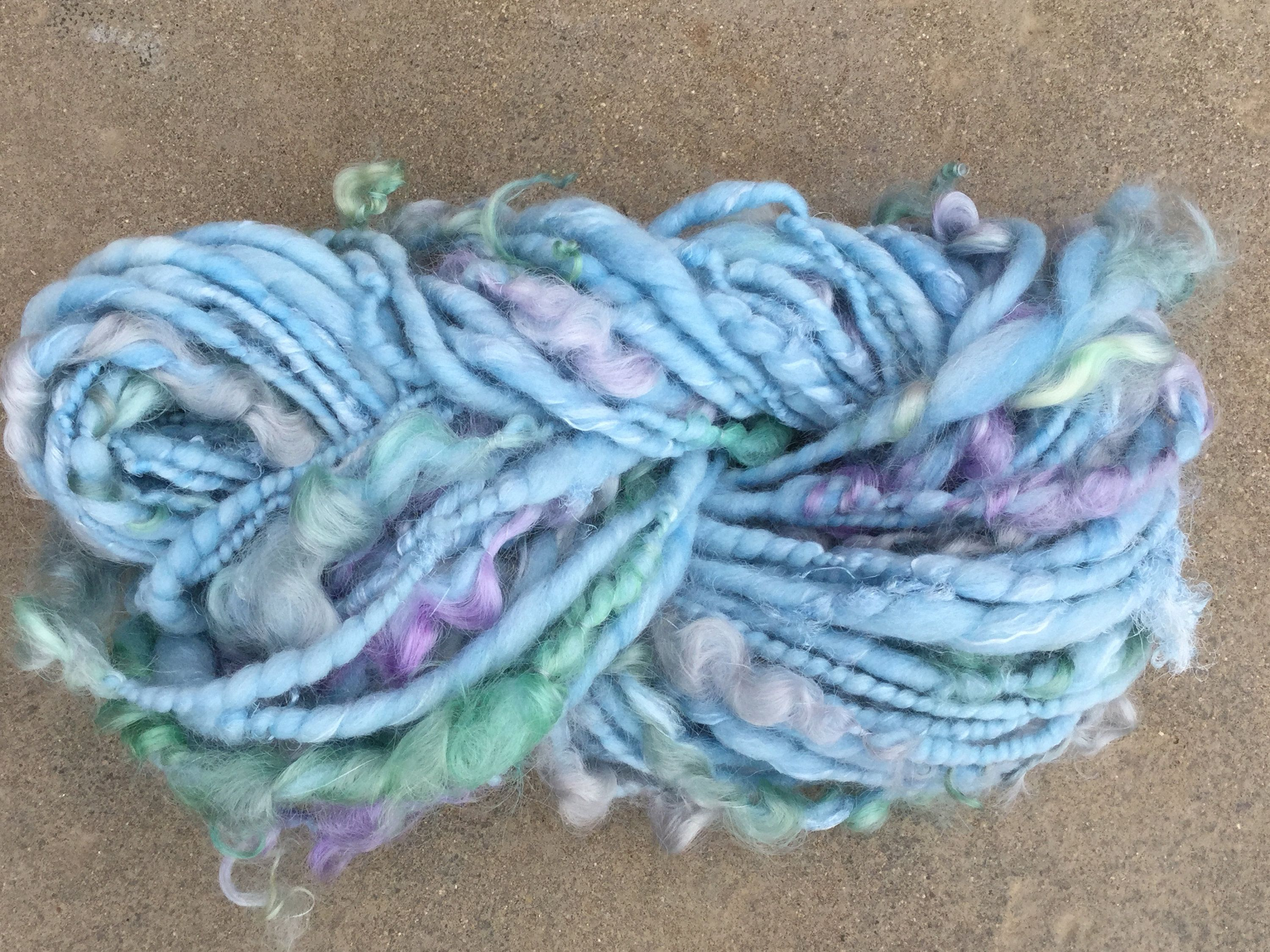 Hand Spun Art Yarn Dream A Little Merino, Silk, Locks