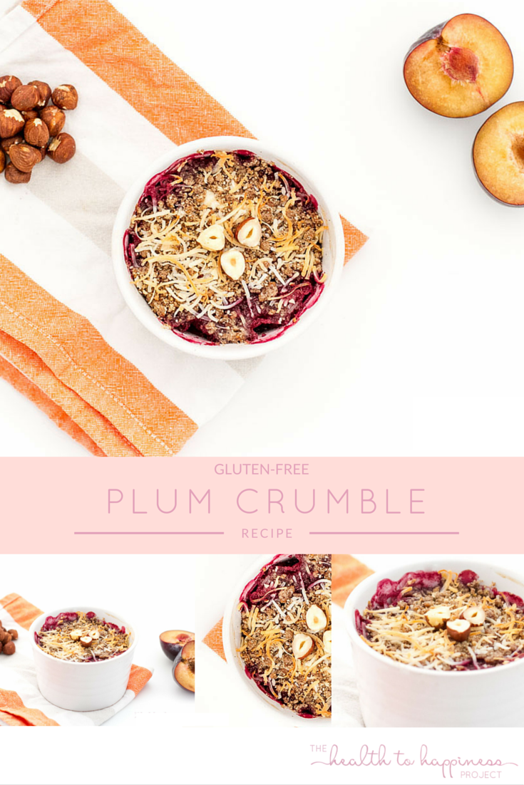 Gluten-free and sugar-free healthy plum crumble for dessert. Yum!