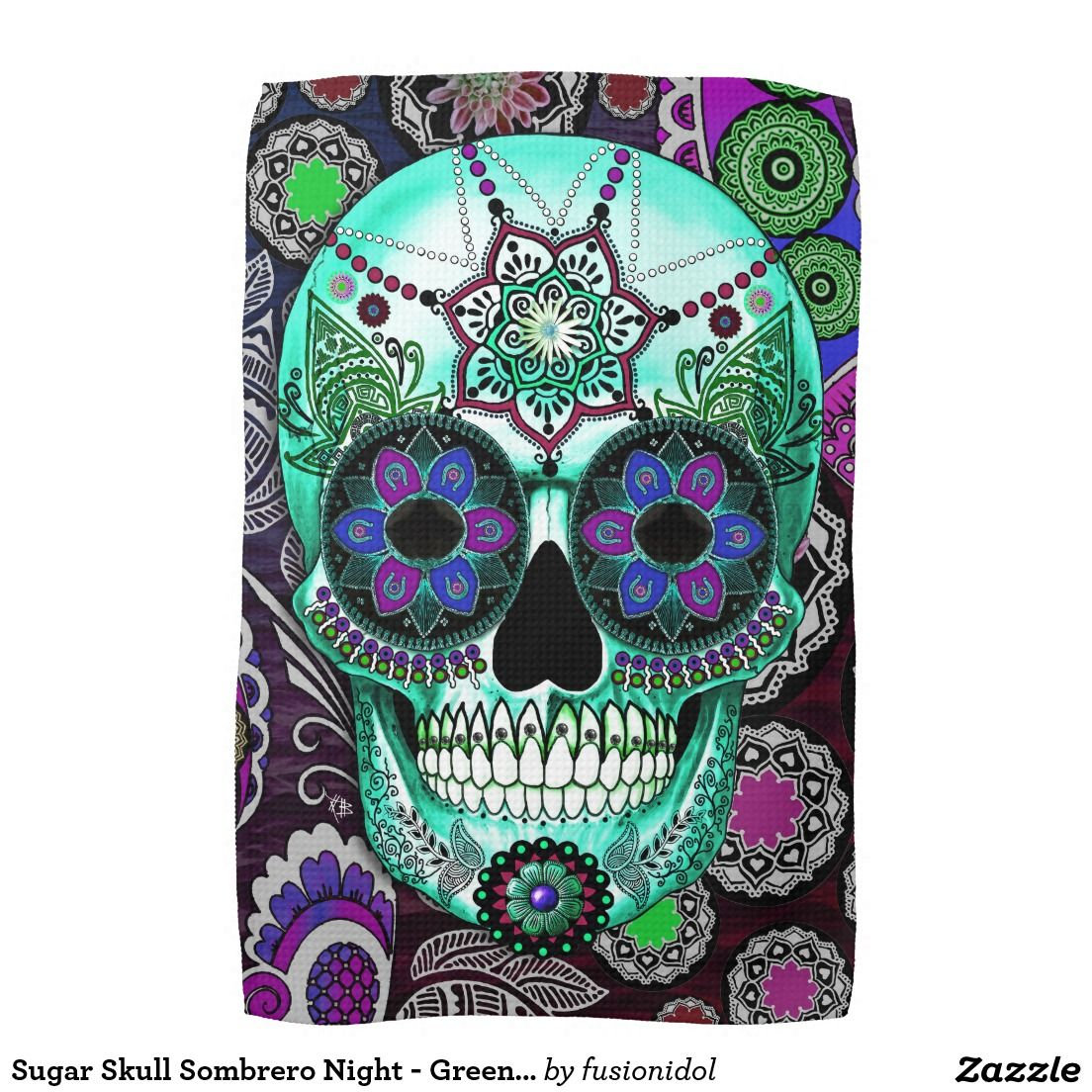 Sugar Skull Sombrero Night - Green | Sugar skull favs | Pinterest ...