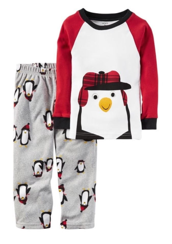 f31f243be9 NWT Carter s 2-piece Cotton Fleece Christmas Penguin Print Pajama Set 2 3 4 5T   Carters  TwoPiece