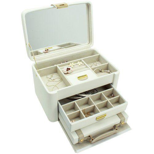 Dulwich Designs jewellery organiser |cream & mink two-tone large jewellery box: Amazon.co.uk: Kitchen & Home