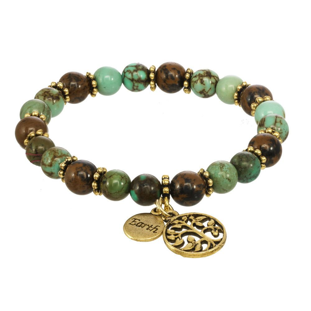 "Red Water Designs Elemental Bracelet Or Earrings ""Earth"" Gold,Green Tree of Life #RedWaterDesigns"