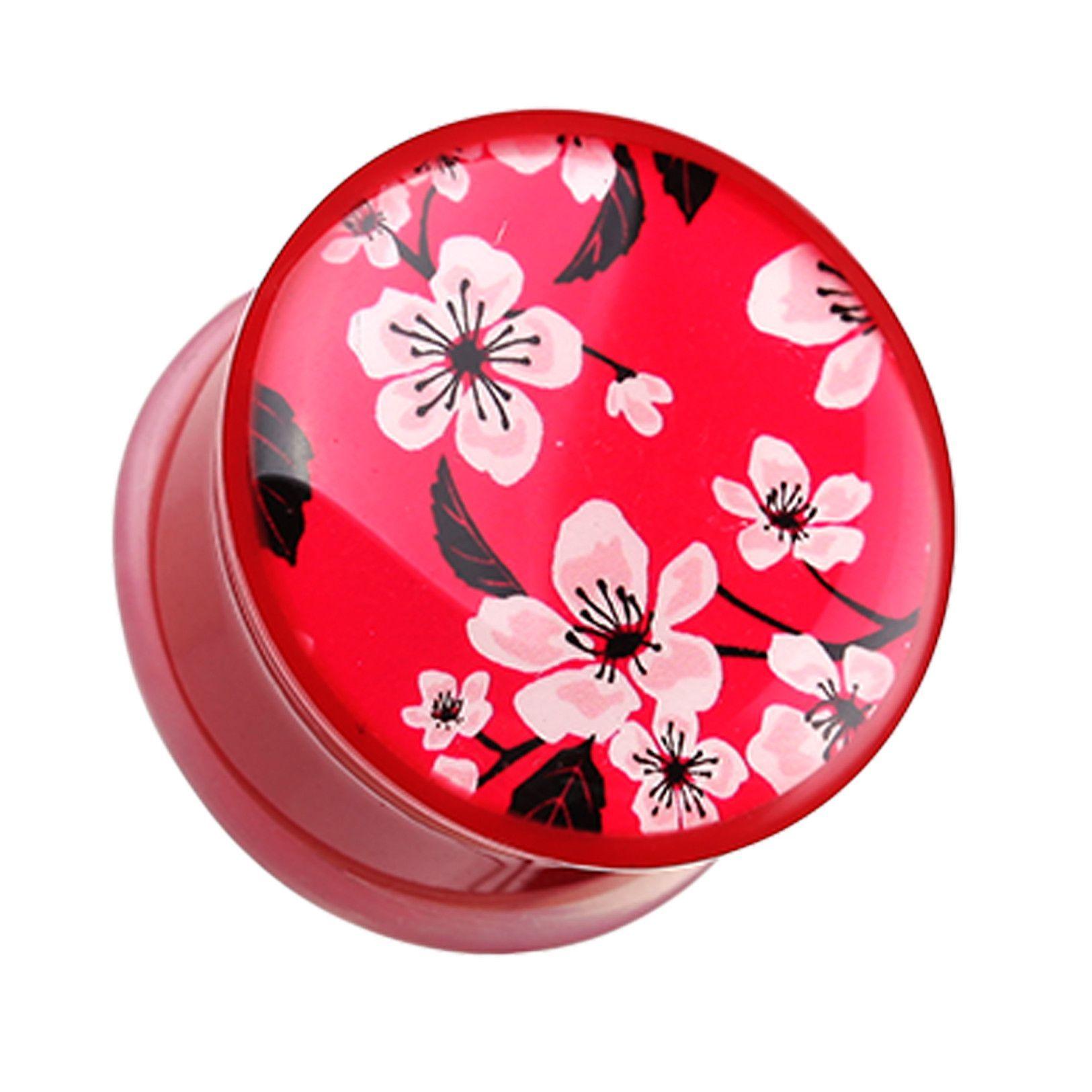 Adorable Sakura Cherry Blossom Single Flared Ear Gauge Plug Sold as a Pair