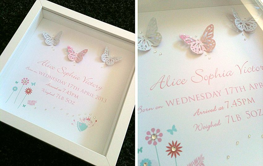 Personalised box frame for new baby to match the baby\'s nursery. www ...