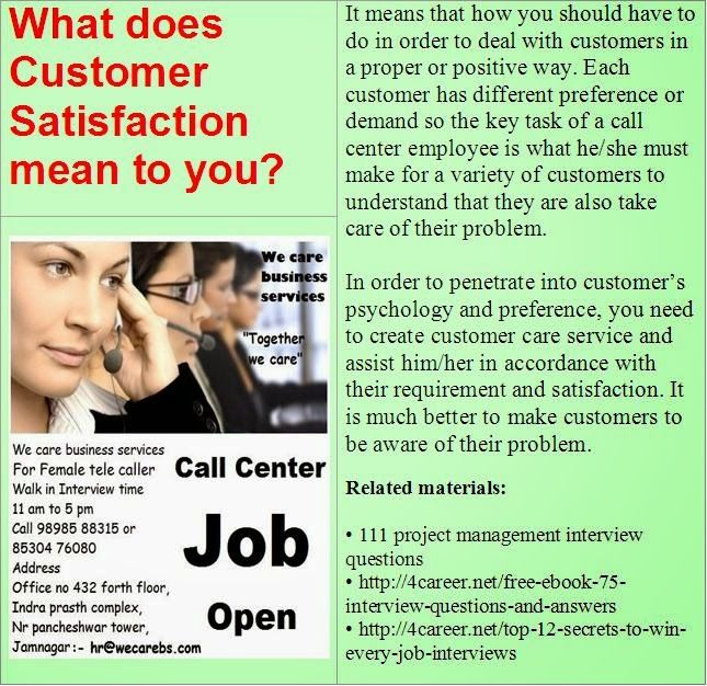 What Does Customer Satisfaction Mean To You Job Interview Advice Accounting Interview Questions Job Interview Answers