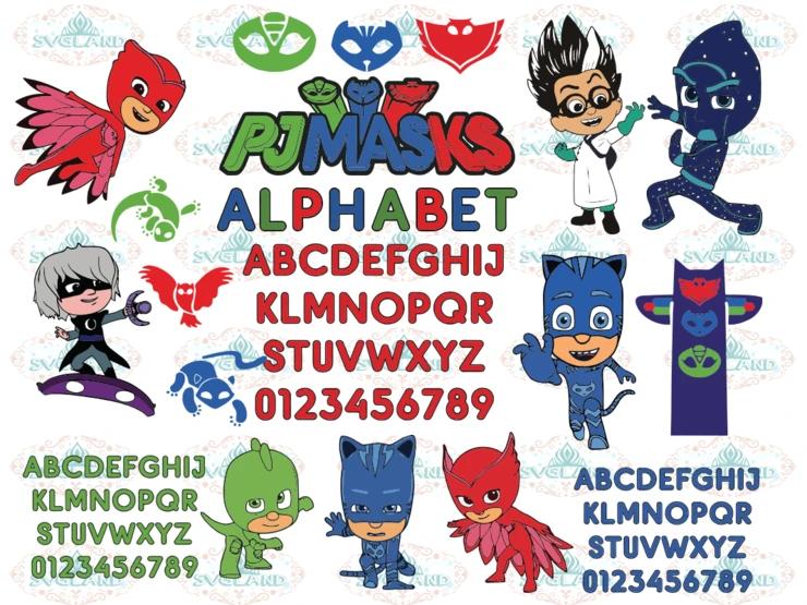 Pj Masks svg, Masks alphabet, clipart Catboy, font Owlette