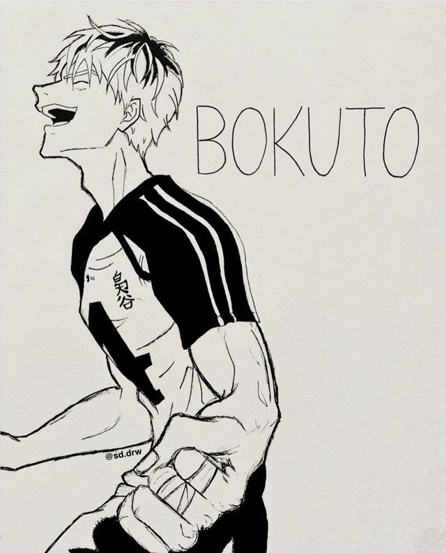 Photo of Oya, Oya? (my drawing of Bokuto with his hair down)