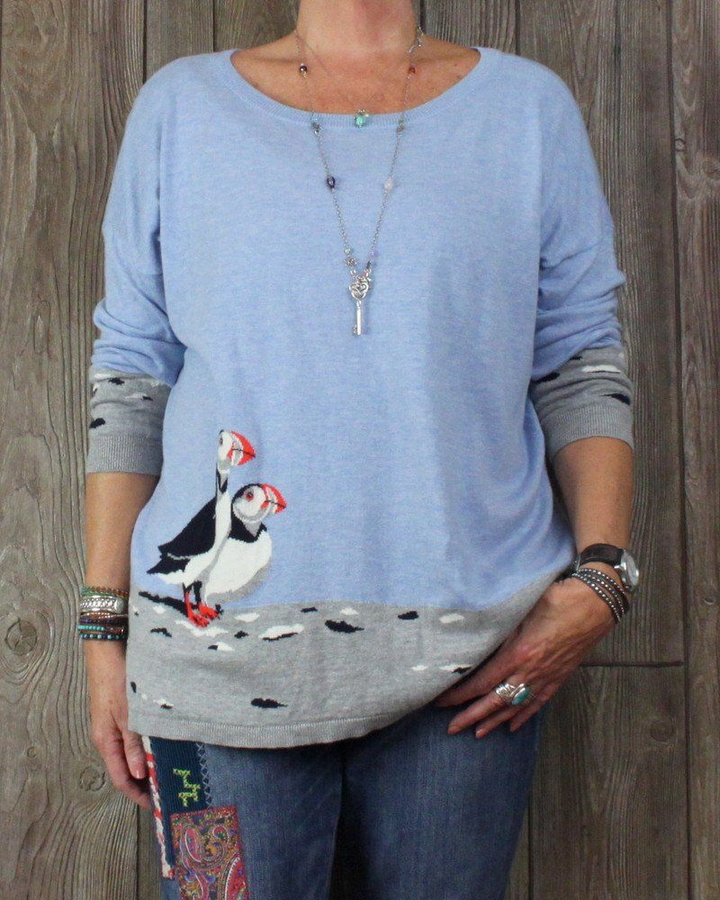 Adorable Talbots 2x Petite 2xp size Puffin Sweater Soft Blue Gray ...