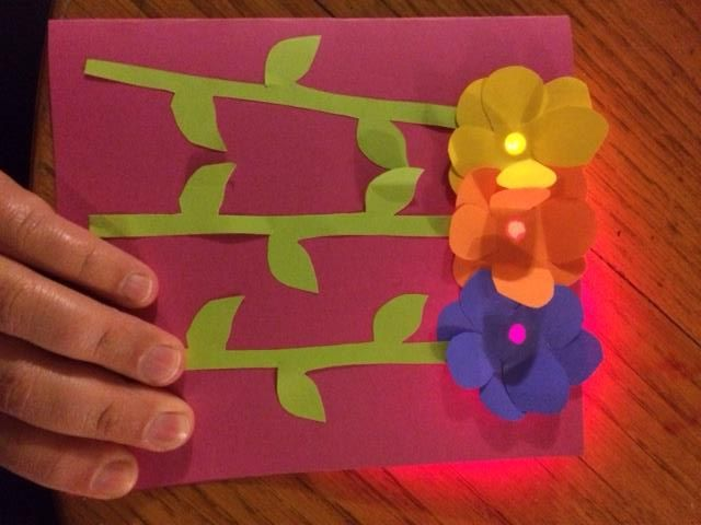 Paper Craft Card With A Parallel Circuit And Surface Leds Paper