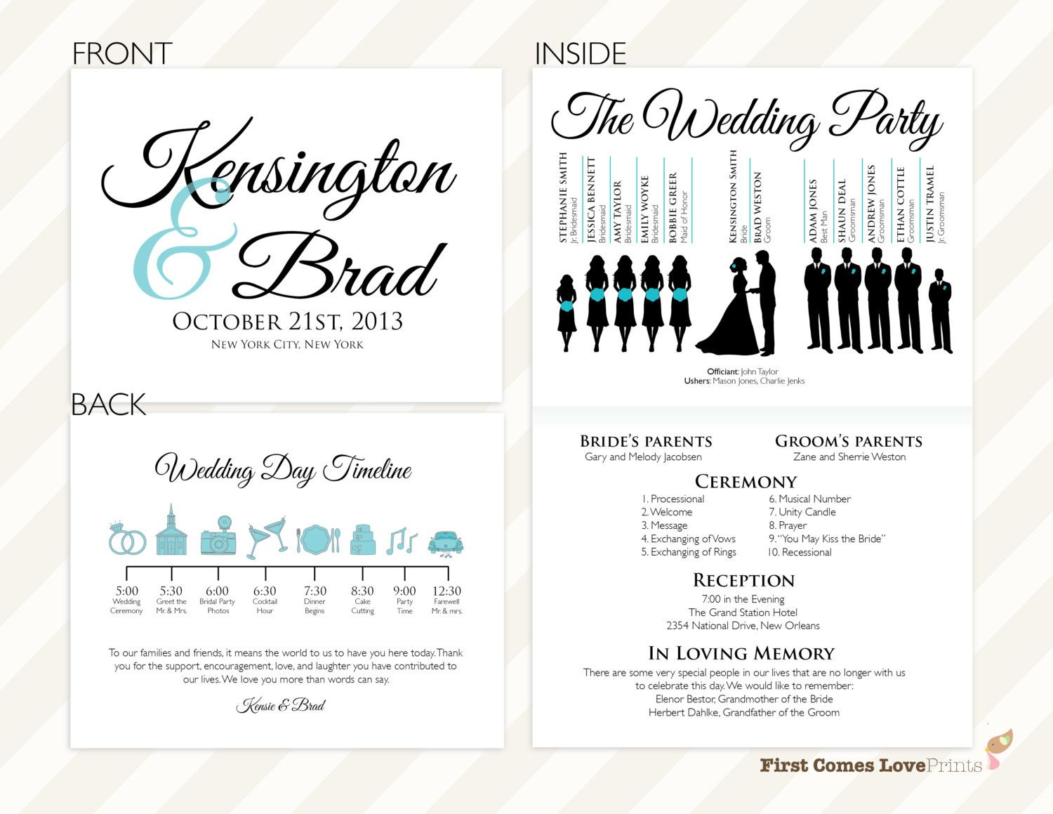 Pdf Silhouette Wedding Program The By Firstcomesloveprints Customizable