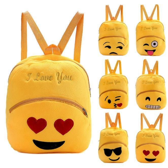 Round Kids Yellow Backpacks 3D Emoji Crossbady Cartoon Bag