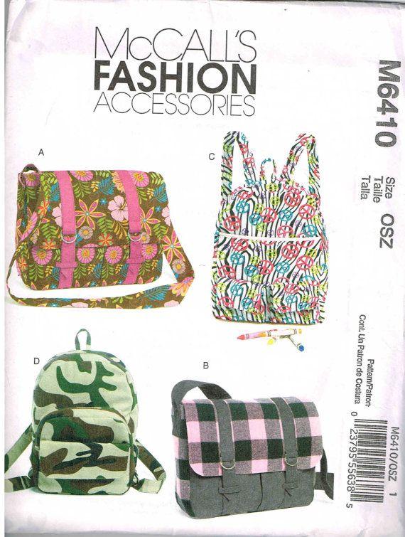 Satchel Messenger Book Bag Backpack Travel Sewing Pattern McCalls ...