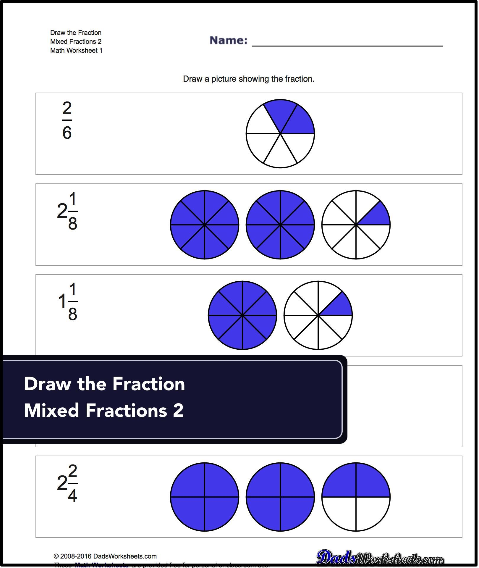Graphic Fractions Worksheets that require students to draw simple