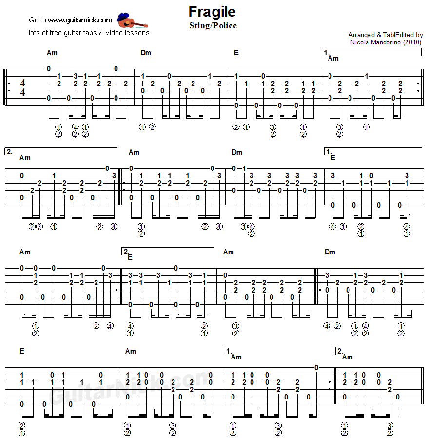 Fragile Fingerstyle Guitar Lesson Guitarnick Great Songs