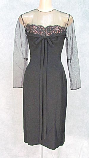 VTG 1950s DESIGNER PEGGY HUNT HOLLYWOOD GLAM DRESS  XS