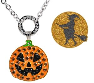 Magnetic ball marker necklace with Jack O' Lantern Pumpkin adorned with Genuine Swarovski Cyrstals and Glitzy Witch on a Broomstick